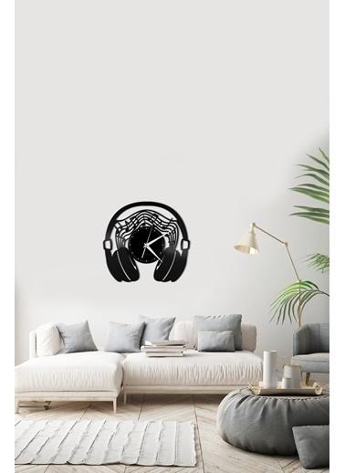 Angemiel Home Müzik Kulaklık Pleksi Duvar Saati Siyah
